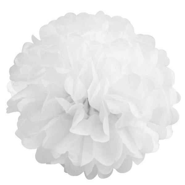 "6 Pack 8"" White Paper Tissue Fluffy Pom Pom Flower Balls"