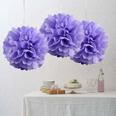 "10"" Lavender Paper Tissue Fluffy Pom Pom Flower Balls For Bridal Shower Wedding Birthday Party - 12 PCS"
