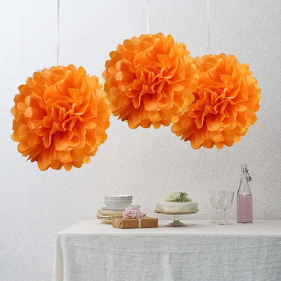 "10"" Orange Paper Tissue Fluffy Pom Pom Flower Balls For Bridal Shower Wedding Birthday Party - 12 PCS"