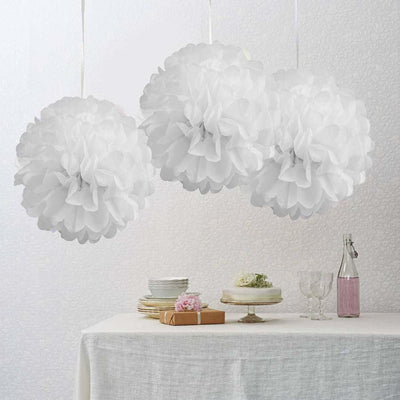 "12 Pack 10"" White Paper Tissue Fluffy Pom Pom Flower Balls"