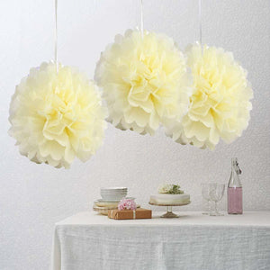 "10"" Ivory Paper Tissue Fluffy Pom Pom Flower Balls For Bridal Shower Wedding Birthday Party - 12 PCS"