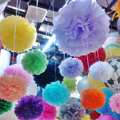 "14"" Fushia Paper Tissue Fluffy Pom Pom Flower Balls For Bridal Shower Wedding Birthday Party - 12 PCS"