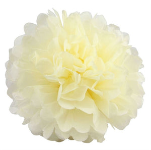 12 PCS Paper Tissue Wedding Party Festival Flower Pom Pom - Ivory - 14""