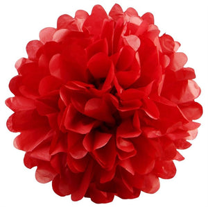 12 PCS Paper Tissue Wedding Party Festival Flower Pom Pom - Red - 14""