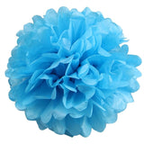 12 PCS Paper Tissue Wedding Party Festival Flower Pom Pom - Turquoise - 14""