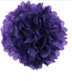 12 PCS Paper Tissue Wedding Party Festival Flower Pom Pom - Eggplant - 16""