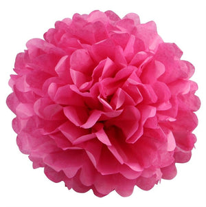 12 PCS Paper Tissue Wedding Party Festival Flower Pom Pom - Fushia - 16""