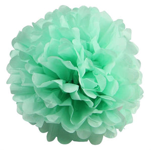 12 PCS Paper Tissue Wedding Party Festival Flower Pom Pom - Tea Green- 16""