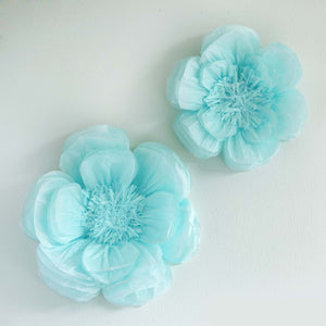 "2 Size Pack | Peony Blue 3D Wall Flowers Giant Tissue Paper Flowers - 12"",16"""