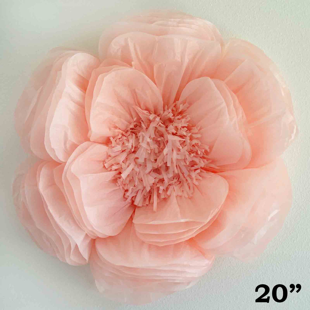 2 Pack 20 Giant Bloomed Peony Paper Flower Rose Gold Blush