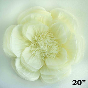 "20"" Ivory Giant Bloomed Peony Paper Flower"