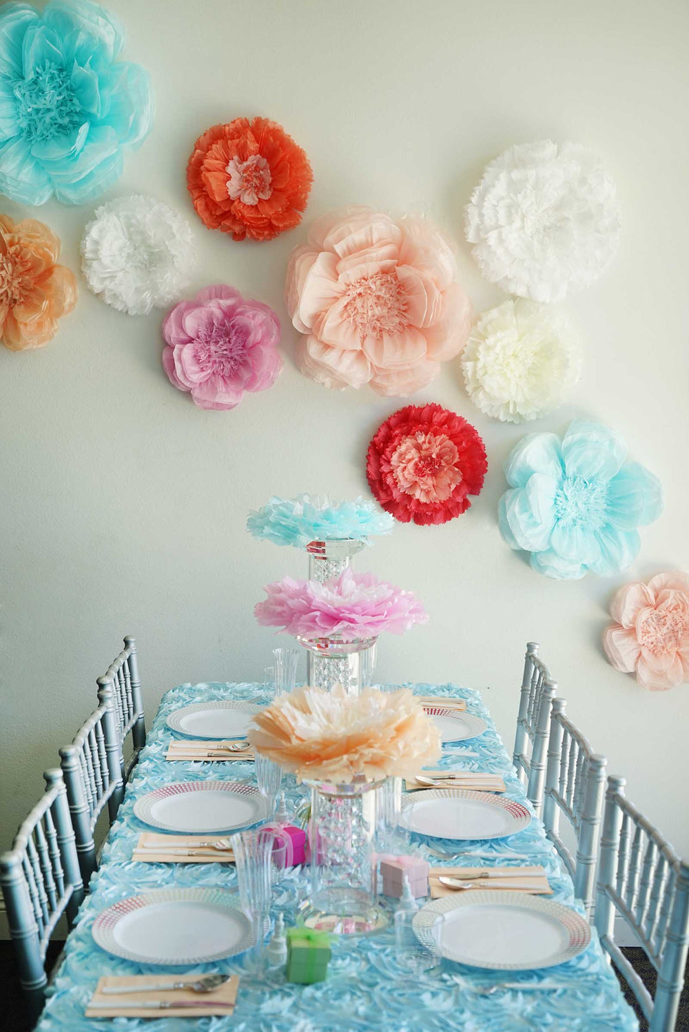 2 Size Pack Carnation Light Coral 3d Wall Flowers Giant Tissue
