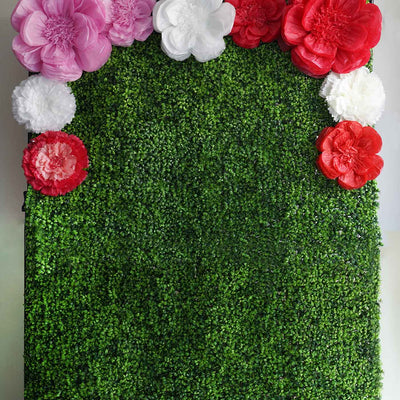 "2 Size Pack | Carnation Fuschia 3D Wall Flowers Giant Tissue Paper Flowers - 12"",16"""