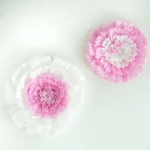 "2 Size Pack | Carnation Pink 3D Wall Flowers Giant Tissue Paper Flowers - 12"",16"""