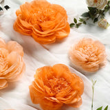 6 Pack Peach & Orange Giant Paper Flowers Peony Assorted Sizes - 12"