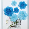 6 Pack Aqua Blue & Turquoise Giant Paper Flowers Peony Assorted Sizes - 12"