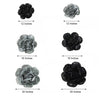 6 Pack Black & Charcoal Gray Giant Paper Flowers Peony Assorted Sizes - 12"