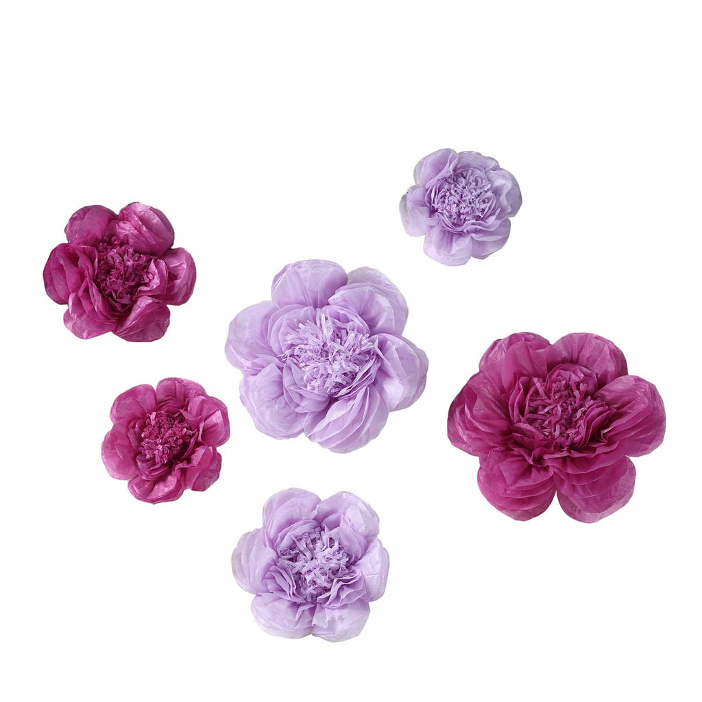 6 Pack Lavender Eggplant Giant Paper Flowers Peony Assorted Sizes 12 16 20