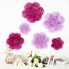 6 Pack Lavender & Eggplant Giant Paper Flowers Peony Assorted Sizes - 12"
