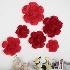 6 Pack Red & Wine Giant Paper Flowers Peony Assorted Sizes - 12"