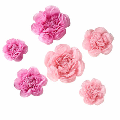 6 Pack Blush & Pink Assorted Size Paper Peony Flowers - 7"