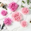 6 Pack Pink & Fushia Assorted Size Paper Peony Flowers - 7"