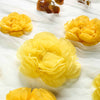 6 Pack Light & Dark Yellow Assorted Size Paper Peony Flowers - 7"