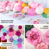 6 Pack Natural & Cream Giant Paper Flowers Peony Assorted Sizes - 12"