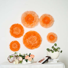 "6 Multi Size Pack | Carnation Coral/Orange 3D Wall Flowers Giant Tissue Paper Flowers - 12"",16"",20"""