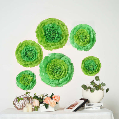 "6 Multi Size Pack | Carnation Mint Green Dual Tone 3D Wall Flowers Giant Tissue Paper Flowers - 12"",16"",20"""