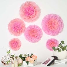 "6 Multi Size Pack | Carnation Blush/Pink 3D Wall Flowers Giant Tissue Paper Flowers - 12"",16"",20"""