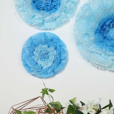 "6 Multi Size Pack | Carnation Aqua Blue Dual Tone 3D Wall Flowers Giant Tissue Paper Flowers - 12"",16"",20"""