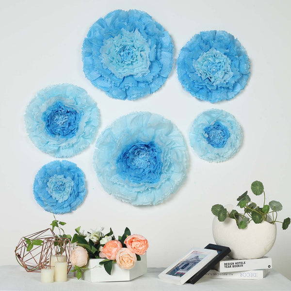 "6 Multi Size Pack | Carnation Aqua Blue Dual Tone 3D Wall Flowers Giant Tissue Paper Flowers - 12"",16"",20"" - Clearance SALE"