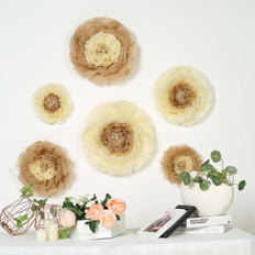 "6 Multi Size Pack | Carnation Taupe/Natural 3D Wall Flowers Giant Tissue Paper Flowers - 12"",16"",20"""