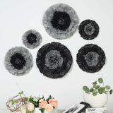 "6 Multi Size Pack | Carnation Charcoal Grey Dual Tone 3D Wall Flowers Giant Tissue Paper Flowers - 12"",16"",20"""