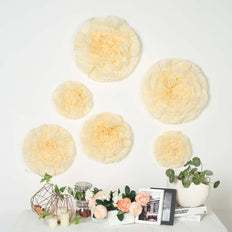 "6 Multi Size Pack | Carnation Ivory/Cream 3D Wall Flowers Giant Tissue Paper Flowers - 12"",16"",20"""