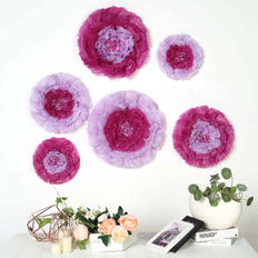 "6 Multi Size Pack | Carnation Lavender Dual Tone 3D Wall Flowers Giant Tissue Paper Flowers - 12"",16"",20"""