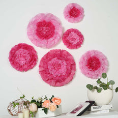 "6 Multi Size Pack | Carnation Pink/Fushia 3D Wall Flowers Giant Tissue Paper Flowers - 12"",16"",20"""