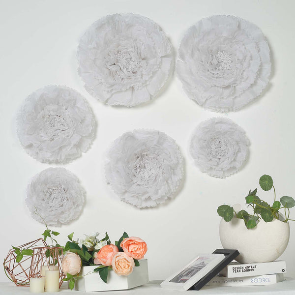 "6 Multi Size Pack | Carnation White Dual Tone 3D Wall Flowers Giant Tissue Paper Flowers - 12"",16"",20"" - Clearance SALE"