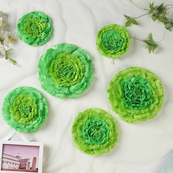 "Pack of 6 | Mint Green | Multi-size Carnation 3D Giant Paper Flowers | Paper Flower Backdrops Wedding Wall | 7""/9""/11"" - Clearance SALE"