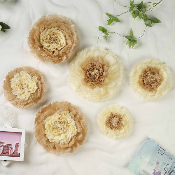 "Pack of 6 | Taupe/Natural | Multi-size Carnation 3D Giant Paper Flowers | Paper Flower Backdrops Wedding Wall | 7""/9""/11"" - Clearance SALE"