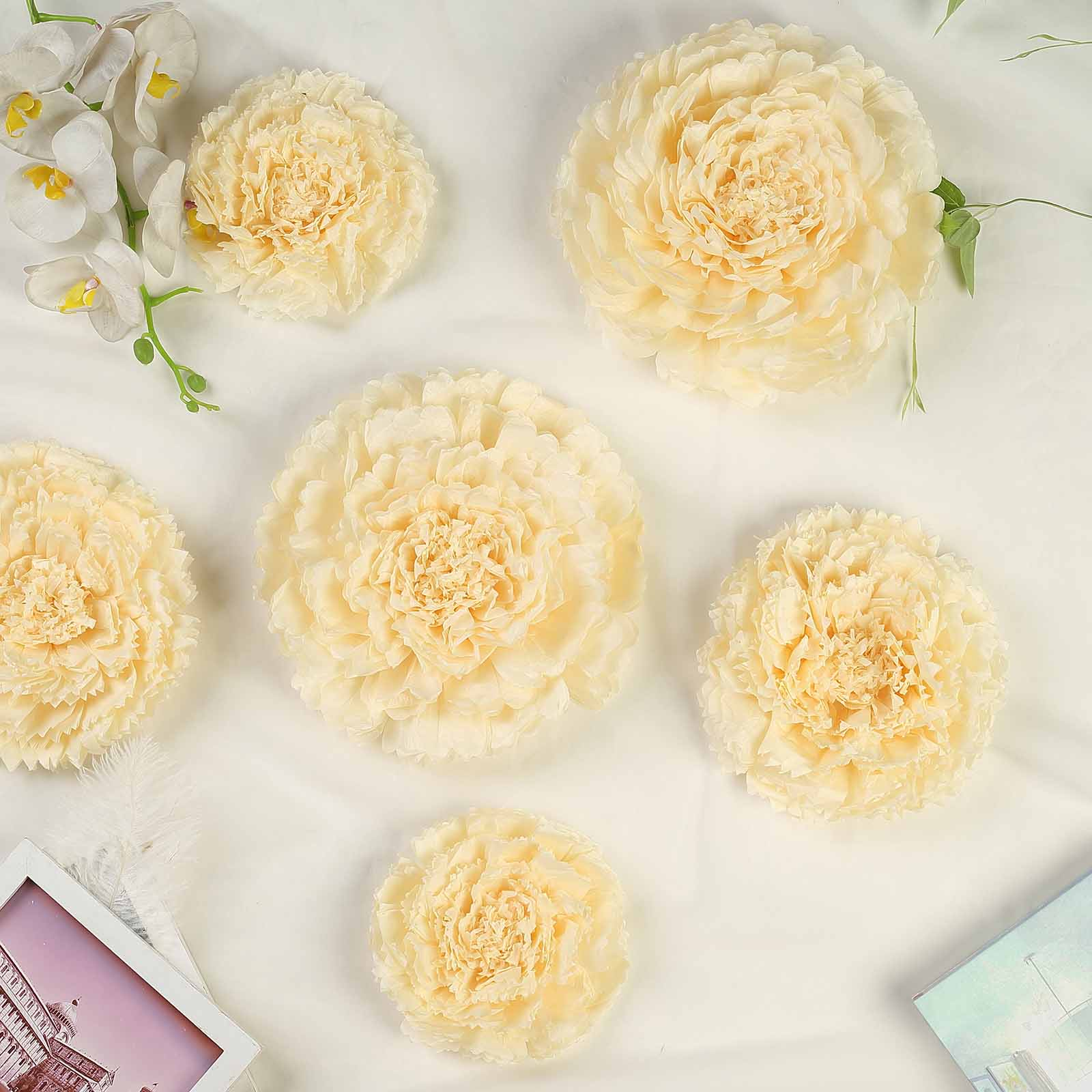 2pcs Artificial Flower Panels Wall Hanging Ornaments for Wedding Decor Cream