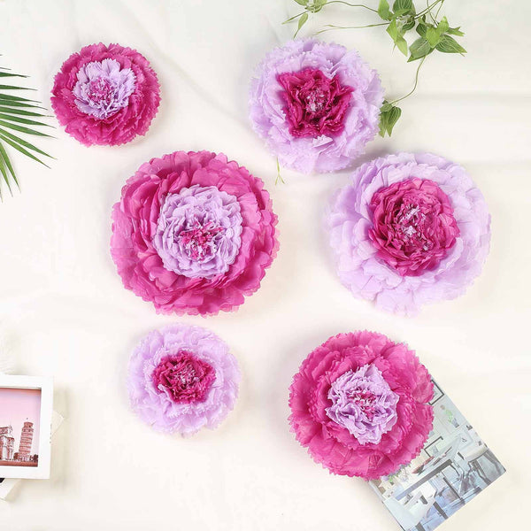 "Pack of 6 | Lavender | Multi-size Carnation 3D Giant Paper Flowers | Paper Flower Backdrops Wedding Wall | 7""/9""/11"" - Clearance SALE"