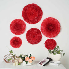 "6 Multi Size Pack | Carnation Red Dual Tone 3D Wall Flowers Giant Tissue Paper Flowers - 7"",9"",11"""