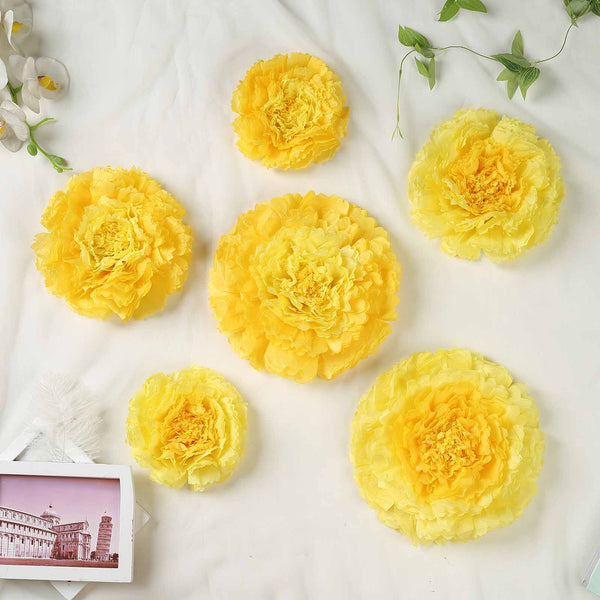 "Pack of 6 | Yellow | Multi-size Carnation 3D Giant Paper Flowers | Paper Flower Backdrops Wedding Wall | 7""/9""/11"" - Clearance SALE"