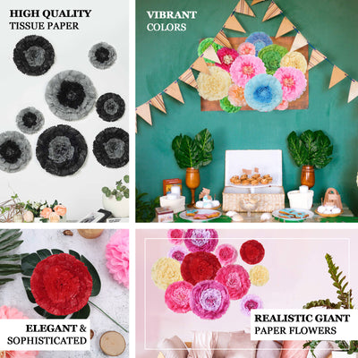 "Pack of 6 | Pink/Fushia | Multi-size Carnation 3D Giant Paper Flowers | Paper Flower Backdrops Wedding Wall | 7""/9""/11"" - Clearance SALE"