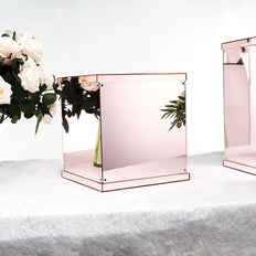 Blush | Rose Gold Mirror Box, Pedestal Risers, Acrylic Box