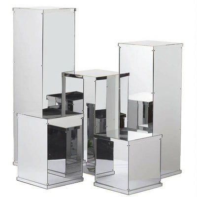 24 inch Mirror Finished Acrylic Pedestal Risers - Display Boxes with Interchangeable Lid and Base