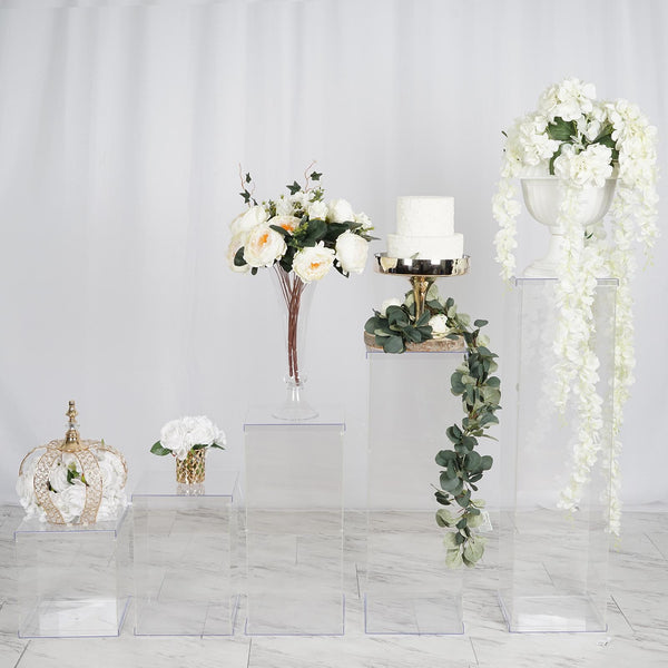 Set of 5 | Clear Acrylic Pedestal Risers & Floor Standing | Transparent Acrylic Display Boxes with Interchangeable Lid and Base | 12"