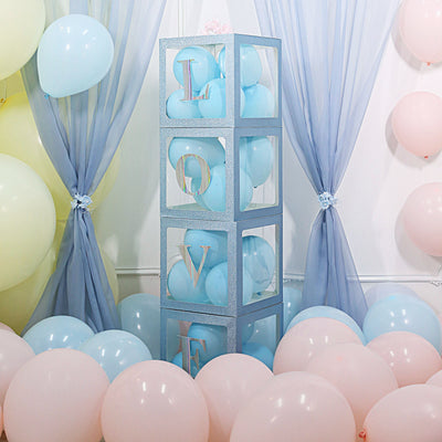 2pcs Transparent DIY Balloon Boxes, Baby Shower Party Decoration Boxes Glitter Blue Edges